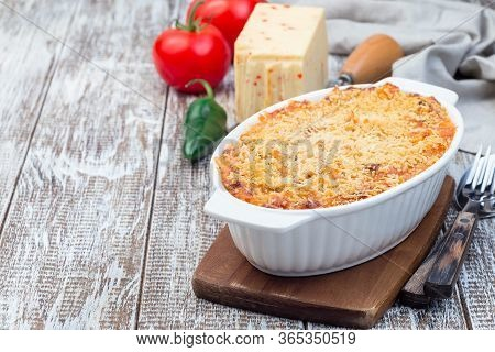 Mac And Cheese With Mini Penne Pasta, In A Baking Dish, Horizontal, Copy Space