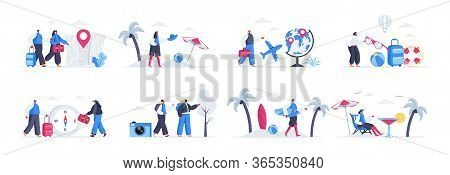 Bundle Of Travel And Vacation Scenes. Tourists World Traveling, Couple With Luggage, Tropical Vacati