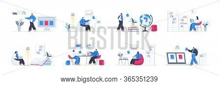 Bundle Of Education Scenes. Distance Learning Program In University, Students Studying In Library An