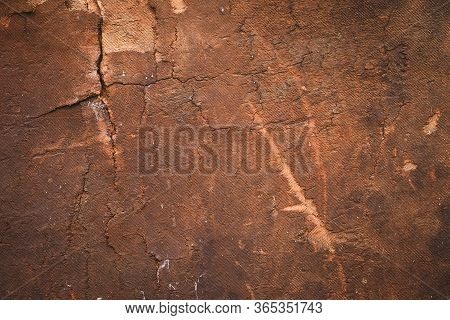 Scratched Plywood, Old Wood Texture, Brown Background. Dirty Paper, Panel Surface. Vintage Wooden Fr