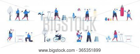 Bundle Of Fitness Training Scenes. People Jogging, Bicycle Riding, Lifting Dumbbells And Training Wi