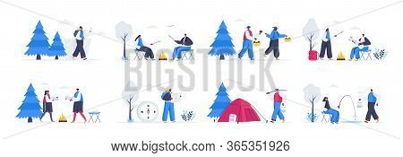 Bundle Of Summer Camping Scenes. Mushroom Hunting, Traveling With Camping Tent, Play Guitar Near Bon