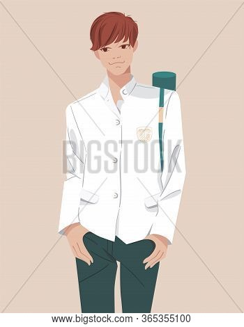 Millennial Generation. Young Smiling Student Of College, School In Uniform. Character Teen With Pape
