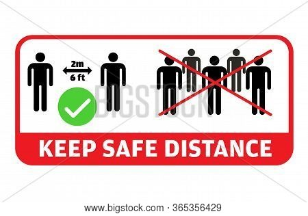 Colorful Social Distancing Message. Keep A Safe Distance, Avoid Groups And Gatherings, Practice 2 Me