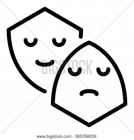 Sad And Happy Mask Icon. Outline Sad And Happy Mask Vector Icon For Web Design Isolated On White Bac