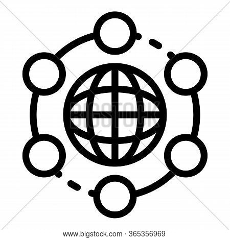 Globe And Gps Icon. Outline Globe And Gps Vector Icon For Web Design Isolated On White Background