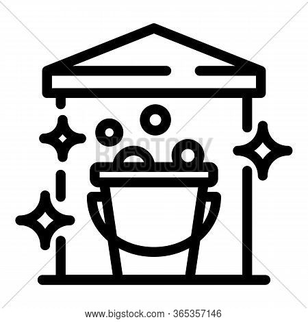 Bucket With Foam Icon. Outline Bucket With Foam Vector Icon For Web Design Isolated On White Backgro