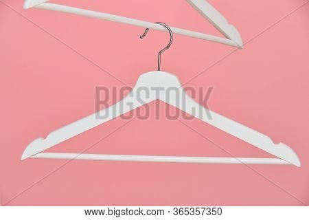 Empty Coat Hanger For Clothes Pink Background Coat Hanger For Clothes Pink Background