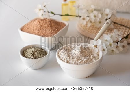 Ceramic Bowl With Red Clay Powder, Ingredients For Homemade Facial And Body Mask Or Scrub And Fresh