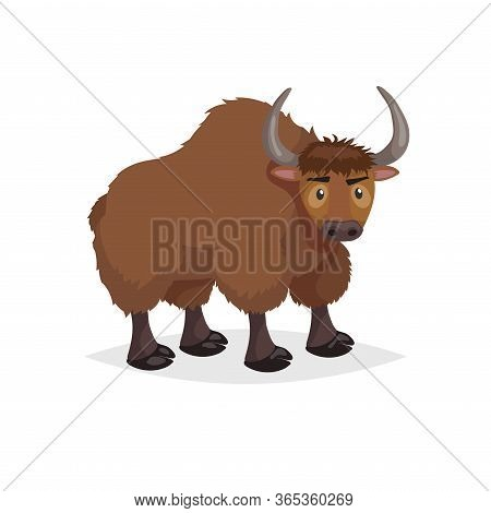 Cute Cartoon Yak. Wild Animal. Vector Illustration For Child Books. Big Furry Cattle Animal. Isolate