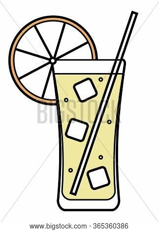 Colorful Vector Orange, Orange And Yellow Stylized Long Island Iced Tea Cocktail Illustration. For C