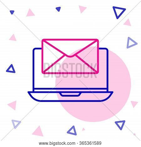 Line Laptop With Envelope And Open Email On Screen Icon Isolated On White Background. Email Marketin