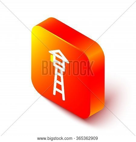 Isometric Line Watch Tower Icon Isolated On White Background. Prison Tower, Checkpoint, Protection T