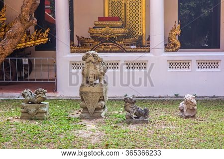 Statues Of Temple Guardian Dog In Thailand. Handcrafted And Painted. .blessings And Protection Symbo