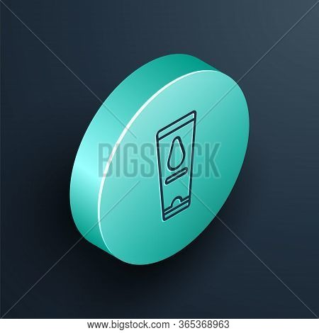 Isometric Line Personal Lubricant Icon Isolated On Black Background. Lubricating Gel. Cream For Erot