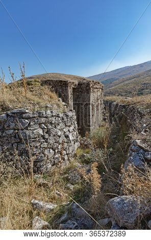 Concrete Military Bunker Ruins Built In Communist Era On A Observation Hillside Near Saranda Albania
