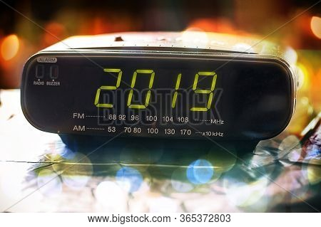 Black Digital Alarm Radio Clock.alarm Radio Clock Indicating Time To Wake Up.digital Radio Clock Dis