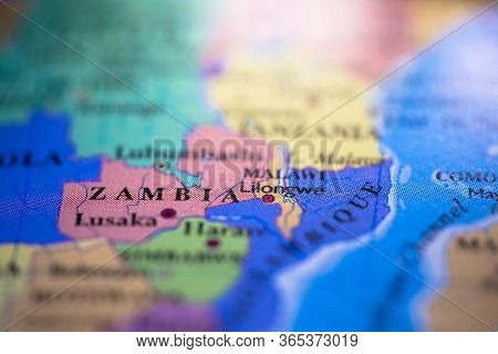 Geographical Map Location Of Country Zambia In Africa Continent On Atlas
