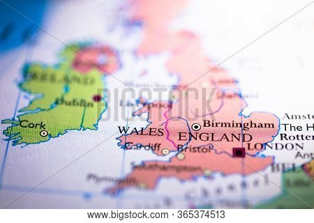 Shallow Depth Of Field Focus On Geographical Map Location Of United Kingdom England Wales Scotland I