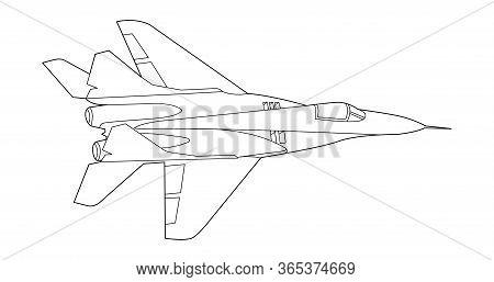 Vector Line Art Airplane Design. Military Plane Black Contour Outline Sketch Illustration Isolated O