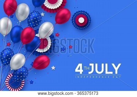 4th Of July, Usa Independence Day Banner. Glossy Balloons In Colors Of American Flag With Confetti,
