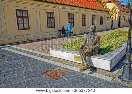 Djakovo, Croatia - October 5, 2017: The Statue Of The Croatian Poet Luka Botic In Ivana Pavla Ii Str