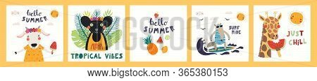 Collection Of Cards, Posters With Cute Funny Animals Doing Summer Activities, Text. Hand Drawn Vecto