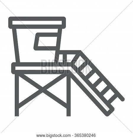 Lifeguard Tower Line Icon, Tourism And Beach, Beach Lifeguard Sign Vector Graphics, A Linear Icon On