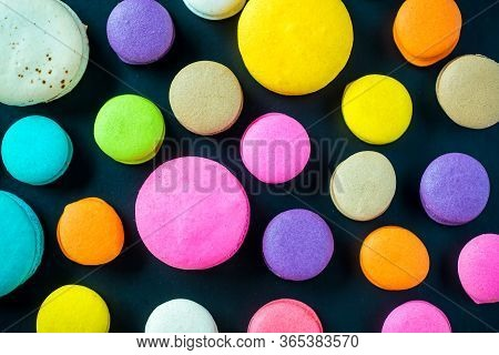Colorful Macarons Dessert With Vintage Pastel Tones. Colorful French Macarons Background,different C