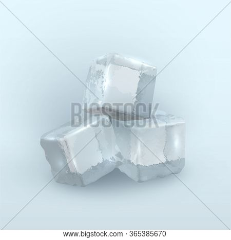 Three Chunks Of Frozen Water In Shape Of Cube On Light Blue Background. Rectangular Cold Blocks.