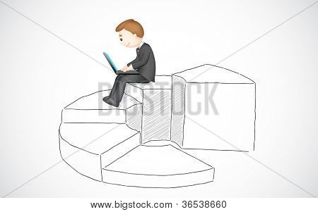 illustration of business man working on laptop sitting on bar graph