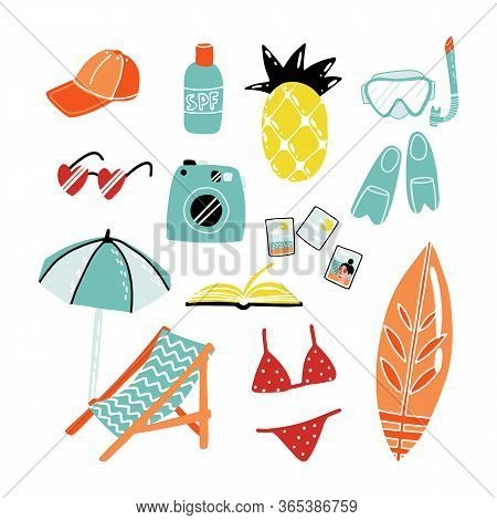 Funny Summer Attributes Stickers Set. Pineapple Fruit Air Mattress, Sunshades, Lounge Chair, Heart S