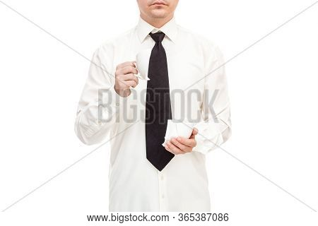 Faceless Businessman In Shirt With Tie Calmly Holds Broken Cup And Drink Coffee Collapse Symbol, Moc