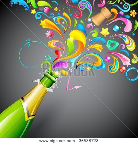 illustration of colorful swirls coming out of champagne bottle