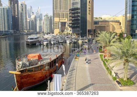 Dubai / Uae - May 7, 2020: Dubai Marina Modern District With Buildings And River. Beautiful Dubai Ma