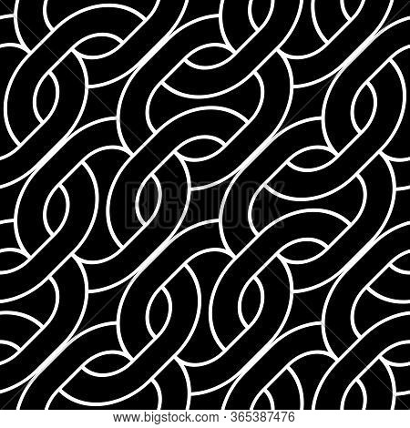 Design Seamless Monochrome Zigzag Pattern. Abstract Interlaced Background. Vector Art