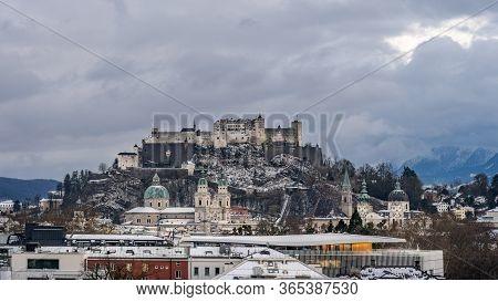 Festung Hohensalzburg And Salzburg Cathedral At Dusk After Sunset Blue Hour During Winter