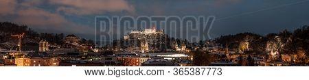 Panoramic Night View Of Festung Hohensalzburg And Salzburg Cathe