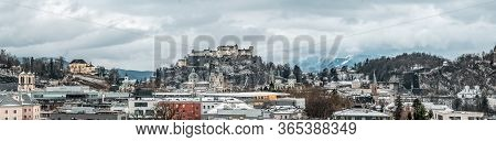 Panoramic View Of Salzburg Old Town With Festung Hohensalzburg A