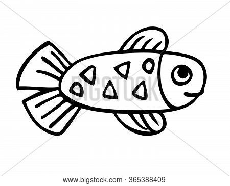 Small Baby Fish With Tail, Fins And Triangle Pattern, Baby Fish Character Hand Drawn With Ink, Simpl