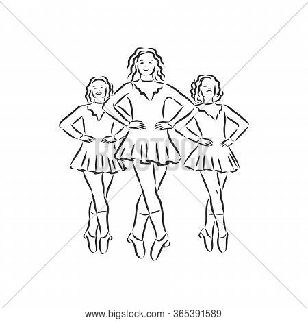 Irish Dance Troupe Jumping Together In Traditional Dresses And Ghillies. Irish Dancing Vector Sketch