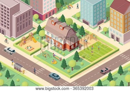 Scenery View On Kindergarten With Playground. Isometric School At City Or Town Block. Schoolyard Wit
