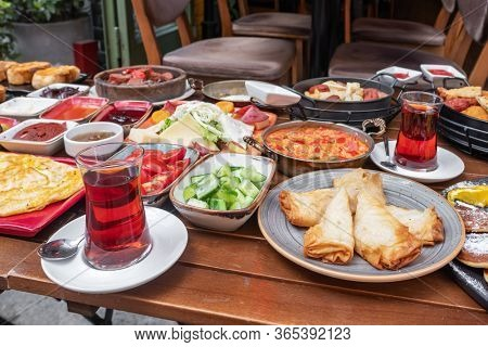Delicious traditional turkish breakfast for two on the table.