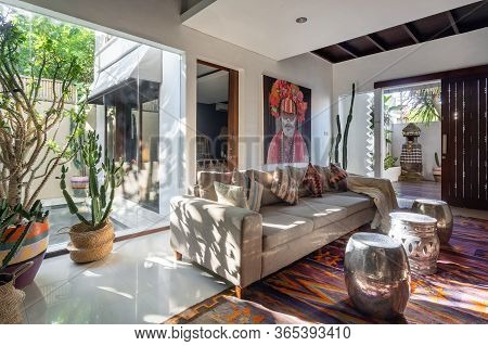 Living Room In Cozy House With Stylish Interior, Ethnic Decor, Cushions On Comfortable Couch, Woven