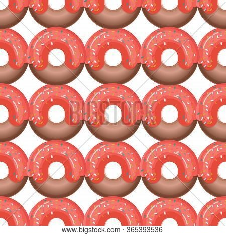 Seamless Pattern With Colorful Donuts In Icing On A White Background. View From Above.