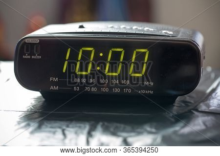 Black Digital Alarm Radio Clock.alarm Radio Clock Indicating Time To Wake Up.digital Clock Closeup D