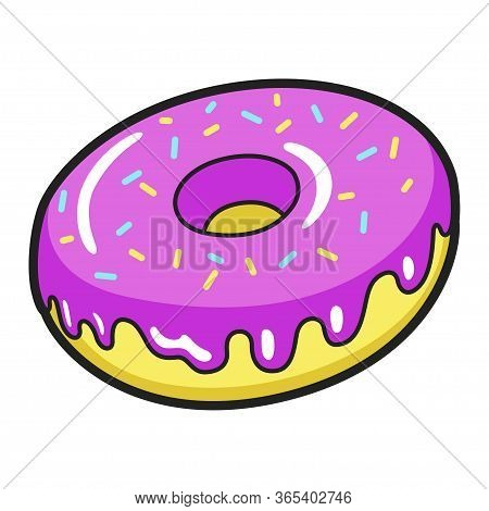 Icing Donut Bright Icon, Delicious Cake With Sprinkles