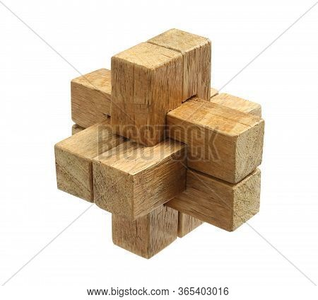 Wooden Brain Teaser Puzzle Toy Game (with Clipping Path) Isolated On White Background