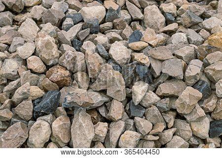 Construction Rubble. Large Size Gravel Texture. Close-up