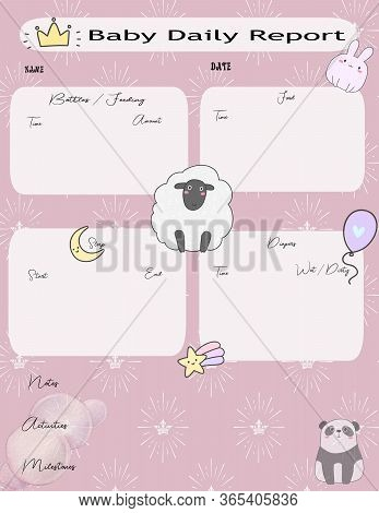 Daily Baby Log For Girls Graphic For Tracking Baby Schedules Like Feeding, Naps, Diaper Changes.  He